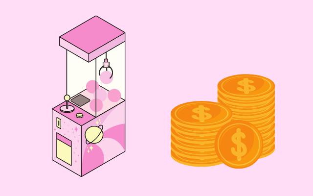 クレーンゲームに使うお金のイラスト